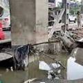 Road sinks near Hyderabad metro station