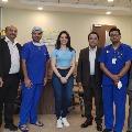 Tamannaah meets Hyderabad Continental Hospital staff