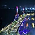 KTR shares Durgam Cheruvu cable bridge night view photos