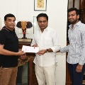 Producer Dil Raju met  KTR and handed over Rs 10 lakhs cheque to the CM Relief Fund