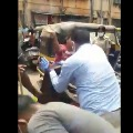 A scuffle broke out between a hawker and police personnel