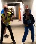 Team India woman cricketer Jemima Rodrigues dances with off line security guard