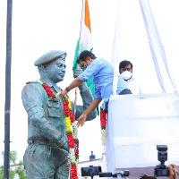 KTR unveils Col Santosh Babu statue in Suryapet