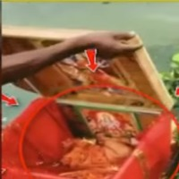 Girl child in a box spotted in Ganges river