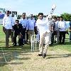 CM Jagan plays cricket in YS Rajareddy stadium