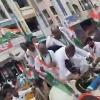 Congress leader Rajanarsimha slips off from a cart