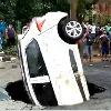 Huge sink hole on Delhi road swallowed a big car
