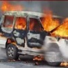 Police vehicle caught in fire in on busy road in Hyderabad
