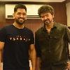 Dhoni met Hero Vijay at Beast sets