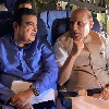 Rajnath and Gadkari travels in a cargo plane which performed landing on highway air strip in Rajasthan