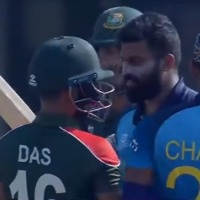 Liton Das and Lahiru Kumara quarrels each other