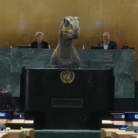 Dinosaur Message On Human Extinction In UN