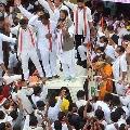 Uttam Kumar reddy attends Srinivasa Reddy nomination at Dubbaka