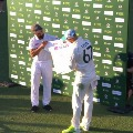 Team India presents a signed jersey to Aussies spinner Nathan Lyon