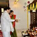 Venkaiah Naidu offers Mahalakshmi Pooja at his son house in Hyderabad in Diwali day