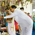 CM KCR attends Ganesh Pooja along with his family members