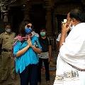 Upasana distributes essentials in Srisailam