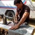 Sonu Sood tailoring on shooting spot in Hyderabad