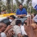 Megastar Chiranjeevi gets huge welcome in Rajahmundry