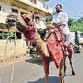 Congress leader Harsh Kumar ride on camel