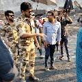 Chiranjeevi and Ram Charan in army dress on Acharya sets