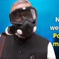 Rajya Sabha MP Narendra Jadhav wears High Efficiency Particulate Air filter mask in Parliament