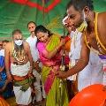Kalvakuntla Kavitha laid foundation in Kondagattu shrine
