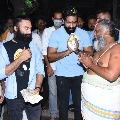 Manchu Vishnu and Navdeep offers special prayers at Simhachalam shrine