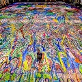 Artwork from worlds largest canvas painting
