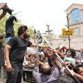 Huge fan crowd at Allu Arjun house in Hyderabad