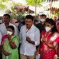 TRS candidate Nomula Bhagat cast his vote in Nagarjuna Sagar by polls