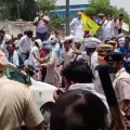 Police lathi charge and use tear gas to disperse farmers protesting against Haryana CM Khattar