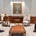 Maharashtra Chief Minister Uddhav Thackeray Deputy Chief Minister Ajit Pawar and Cabinet Minister Ashok Chavan called on Modi