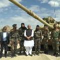Ladakh Defence Minister Rajnath Singh Chief of Defence Staff General Bipin Rawat and Army Chief General MM Naravane at Stakna Leh