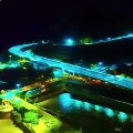 Night vision drone view of Kanakadurga Flyover in Vijayawada