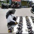 Teacher sells foot wear after schools shut down due to corona pandemic