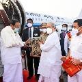 Venkaiah Naidu arrives Vijayawada