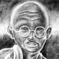 Ash Art of Gandhi by Adoni Youth in Rocords