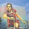 PV Sindhu 40 Feet Painging on Sports Stadium