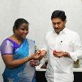 Araku MP Goddeti Madhavi presents Strawberries to CM Jagan
