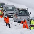 Heavy snowfall causes huge traffic jam in Japan
